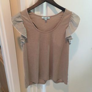 She + Sky tan large ruffle tank top